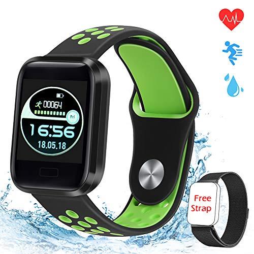 MTJJ Smartwatch,Fitness Armband Pulsuhren Wasserdicht IP68 Schrittzähler Uhr Stoppuhr Sport GPS Aktivitätstracker für Damen Herren Kinder für iOS Android
