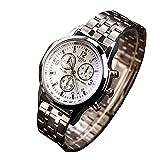 Yazole Mens lujo acero inoxidable reloj de pulsera analógico de cuarzo–blanco