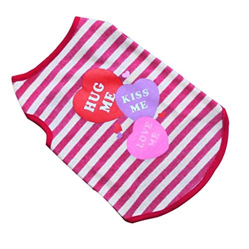 Haustier-Weste,Kleiner Hund Katze-Hund Kleidung Striped Weste Bekleidung,Baumwolle Haustier Hund Welpen Klassischen Weste T-Shirt, (Hot Pink, S)