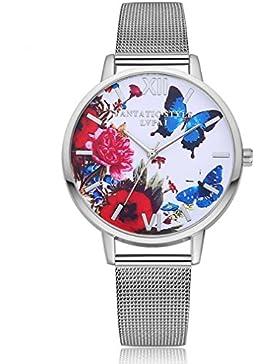 Souarts Damen Armbanduhr Einfach Mesh Metallarmband Rose Schmetterling Muster Casual Analoge Quarz Uhr Silber...