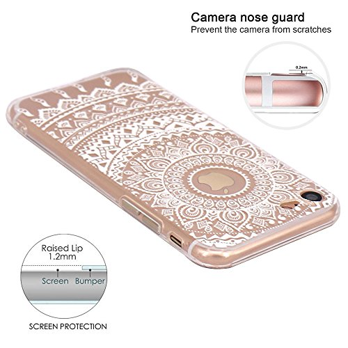iPhone 7 Hülle, JIAXIUFEN TPU Silikon Schutz Handy Hülle Handytasche HandyHülle Etui Schale Schutzhülle Case Cover Tasche Etui für Apple iPhone 7 - White Tribal Mandala Color02