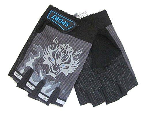 Kinder-Halbfinger-Handschuhe für Fahrrad / BMX, für Jungen und Mädchen, Reifenmuster, 3Farben zur Auswahl