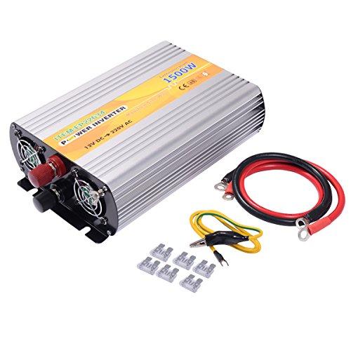 COSTWAY Spannungswandler Wechselrichter Inverter Stromwandler Welchselrichter 1500W 3000W 12V DC auf 230V AC mit USB-Anschlus