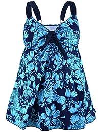 Rocorose Women's Retro Floral Cover up Two Piece Plus Size Swimwear