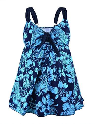 Rocorose Damen Zweiteiliger Badeanzug Große Größen Blaue Blume EU 52 (Herstellergröße CN 62)