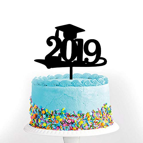 Black Congrats Grad 2019 Graduation Tortenaufsatz Congrats Graduation Party Dekoration Supplies High School Graduation College-Abschluss-Kuchenaufsatz