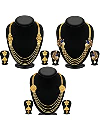 YouBella Fashion Jewellery Gold Plated Combo Of Three Traditional Necklace Set For Women Party Wear And Wedding...