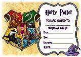 Harry Potter Einladungskarten zum Geburtstag, mit buntem Hogwartswappen-Design, A5-Format, Partyzubehör, 12 Stück WITHOUT Envelopes