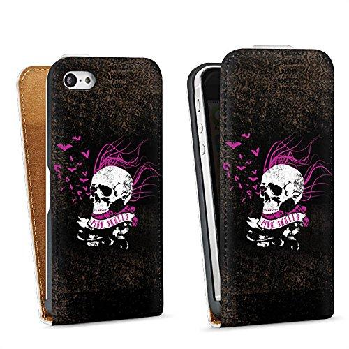 Apple iPhone 5 Housse étui coque protection Tête de mort Noir Rose vif Sac Downflip blanc
