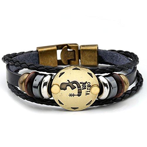JOVIVI Bijoux Bracelet Leather Cuir Tresse 12 Signes du Zodiaque Constellations Lien Poignet Chaine de Main Gourmette Manchette Biker Metal Alliage Femme Homme virgo