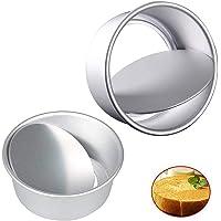 Mirrwin Moule à Gâteau en Aluminium Moule à Gâteau Rond Profond Moules à Gâteaux Ronds Inférieurs avec Base Amovible en…