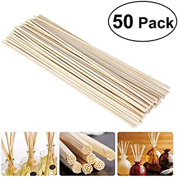 8475aabe6fea NUOLUX 50pcs Wood Oil Diffuser Replacement Rattan Reed Sticks ...