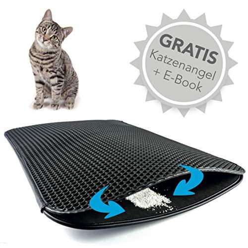 Haustierbote Premium Katzenstreumatte - Wasserdichte Katzenklo Unterlage mit effizientem...
