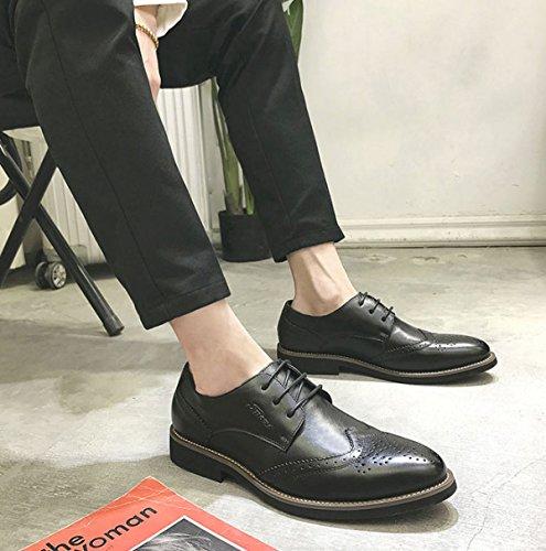 Bullock Sculpté En Cuir Chaussures Printemps Hommes Daffaires Décontractés De Grande Taille Plus Des Chaussures De Mariage De Velours Black