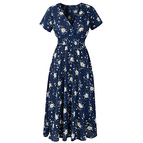 DAYLIN Newest Clearance Womens Daily Popular Largr Size V Neck Chiffon Holiday Floral Print Ladies Summer Beach Party Dress Hot Sell