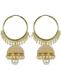 I Jewels Gold Plated Chandbali Pearl Jhumki Earrings for Women E2549W