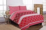 Linen Empire Ltd Modernes Robyn Bettwäsche-Set mit Kissenbezügen, für Einzel-, Doppel- und King-Size-Betten, rot, Einzelbett