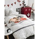 Déco-de-maison–Juego de cama (funda nórdica de 140x 200cm + funda de almohada–Doggy–perro y Basket