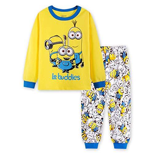 Finewlo Jungen Pyjama Sets Kinder Weihnachten Hosen 100% Baumwolle Cartoon Lang Kinder Snug Fit Winter Kleinkind Nachtwäsche, Minions, 2 T / 90 cm
