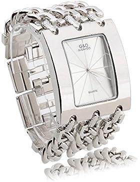 FACILLA® Damen Armband Uhr Damenuhr Armbanduhr Quarzuhr Legierung Silberfarbe Schmuck
