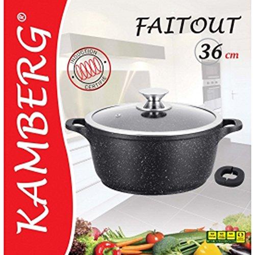 Kamberg - 0008035 - Faitout 36 cm - Fonte d'Aluminium - Revêtement type pierre - Couvercle en verre - Tous feux dont induction - Sans PFOA