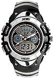 SKMEI Kinder Sport Armbanduhr Resin Analog Digital Quarz Kalender Alarm Chronograph 5ATM wasserdicht silber 0998