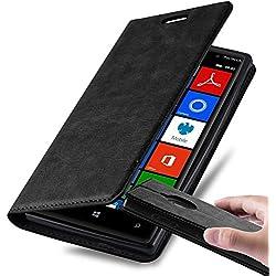 Cadorabo Coque pour Nokia Lumia 830 en Noir Nuit - Housse Protection avec Fermoire Magnétique, Stand Horizontal et Fente Carte - Portefeuille Etui Poche Folio Case Cover