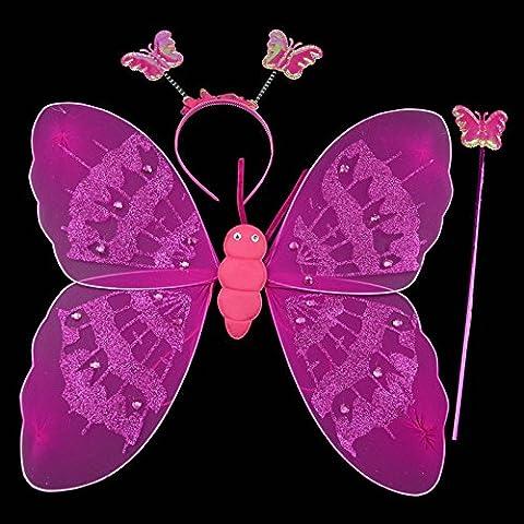 Ala bacchetta fascia Fata Natale costume Kasit 3Pc Set partito costume bello principessa Girl Kids Scintillante Butterfly - Red
