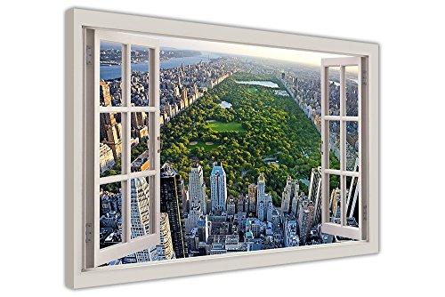 CANVAS IT UP New York City Bilder Central Park Fenster Bay Effekt auf gerahmter Leinwand Wand Kunst Bilder Home Deco Prints Modern Art Größe: A4-30,5x 20,3cm (30x 20cm) 8 Bay Antenne
