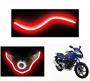 Leebo 30cm 1Pc Flexible Audi Style Neon Red Tube DRL Light (Free 1 Pair Parking Led) For Hero Ignitor