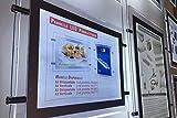 Tablón expositor para publicidad, para vitrinas, con panel de plexiglass, LED luminoso, A4horizontal, sistema de suspensión. Ideal para agencia inmobiliaria