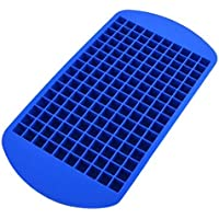 SODIAL(R) 1PCS Eco-friendly Food Grade 160 Cavity Silicone Ice Cube Tray Mini Ice Cubes Small Square Mold Ice Maker WD-10012£¨Blue£©