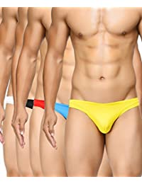 BASIICS by La Intimo Men's Blue, Black, Red, White, Yellow Semi-Seamless Feather Weight Brief (Pack of 5)