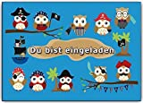 10 lustige Einladungskarten Eulen Piraten Einladungen Kindergeburtstag Party Feier Jungen Mäden