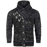 Herren Strick Pullover Cardigan Jacke Grobstrick Longsleeve Shirt Norweger, Größen:XL, Farben:Schwarz