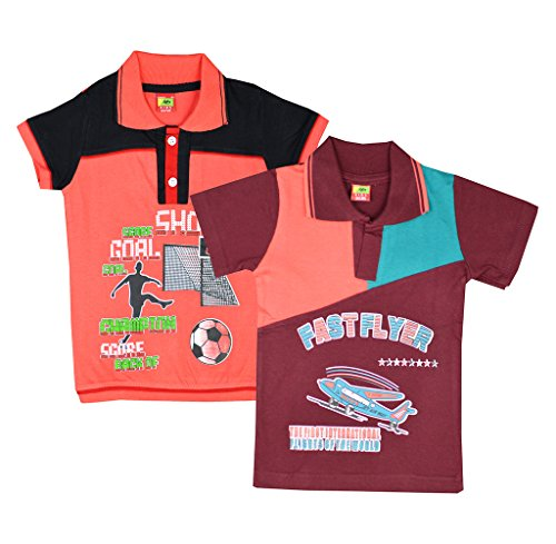 Elk Kids Boys Printed Cotton Tshirt Polo Shirts 2 Set Combo (2- 9 Years)  available at amazon for Rs.259