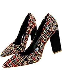 Club de Noche Sexy para Mujeres Zapatos de Tacones Altos Moda Americana Americana Mujeres Femeninas Grueso Boda Dedos en Punta Zapatos - Negro 37