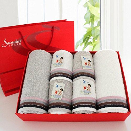 Badetücher Und Weiße Graue (ZHFC satin verdickung reiner baumwolle handtuch handtuch red adult paar hochzeit geschenk geschenk geschenk . sechs stück paket,graue und weiße kollokation)
