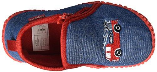 Playshoes Unisex-Kinder Hausschuh Feuerwehr Hohe Blau (jeansblau 3)