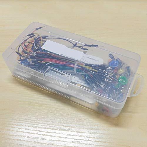 Elektronisches Starter-Set kompatibel mit Arduino-Widerstand, Kondensator, Buzzer, Breadboard, LED-Dupont-Kabel für Anfänger (Zu Lernen Widerstand)