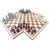 ROMBOL Schach4 Kreuzform (Michael Stetter, Deutschland, 2006), Intarsienarbeit Mahagoni/Ahorn
