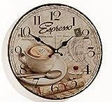 Wanduhr aus Glas INKLUSIV Batterie - Motiv: Espresso Kaffee Cafe Coffee Cappuccino - Küchenuhr Glasuhr - Uhr Größe 34cm rund