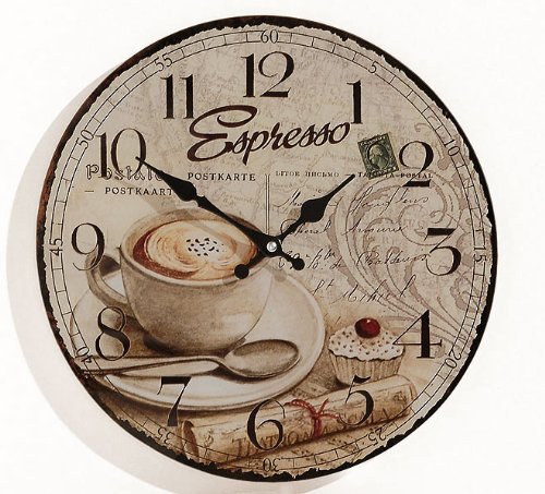 levandeo Wanduhr aus Glas INKLUSIV Batterie - Motiv: Espresso Kaffee Cafe Coffee Cappuccino -...