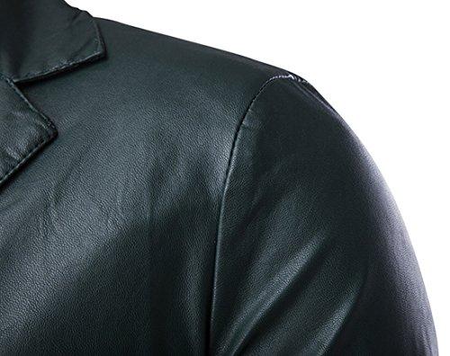 QIYUN.Z Uomo Casuali Un Tasto PU Ecopelle Slim Fit Giacche Cappotto Verde