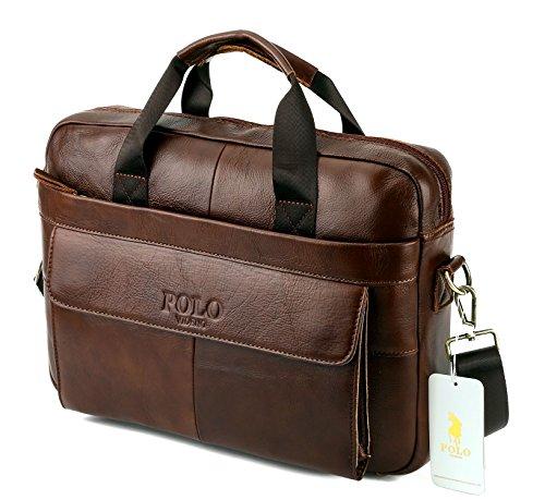VIDENG POLO Aktentasche aus Leder,14 Zoll Herren Laptoptasche Schulter Geschäft Arbeitstaschen (Coffee-p) (Tasche Leder Coffee)