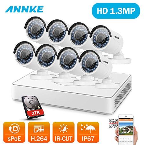 ANNKE 8CH 1080P POE NVR System mit 8PCS 960P Surveillance IP Netzwerk Sicherheit Kamera Outdoor mit 2TB Festplatte IR Nachtsicht, Bewegungserkennung und Fernzugriff (8ch Poe Sicherheit Kamera-system)