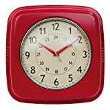Clayre & Eef 6KL0348 Retro Metall Uhr Wanduhr Küchenuhr Rot 28 x 28 x 8 cm