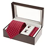 #5: Sir Michele Red Micro Fiber Tie, Pocketsquare and Cufflink Set