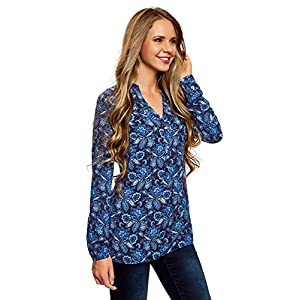 oodji Collection Mujer Blusa Estampada de Viscosa