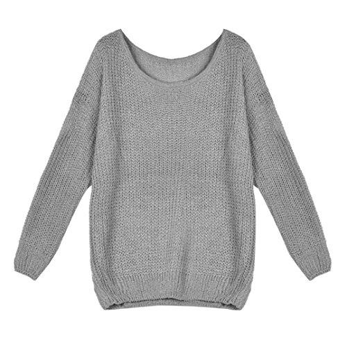 Koly_Maglia a manica lunga allentato Autunno Inverno maglione oversize ponticello Tops Grigio